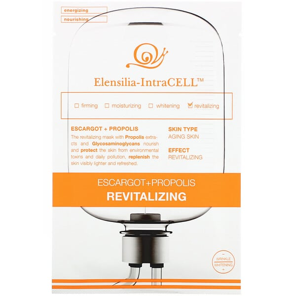 Elensilia, Elensilia-IntraCELL, Escargot + Propolis Revitalizing Mask, 10 Sheets, 0.85 fl oz (25 ml) Each