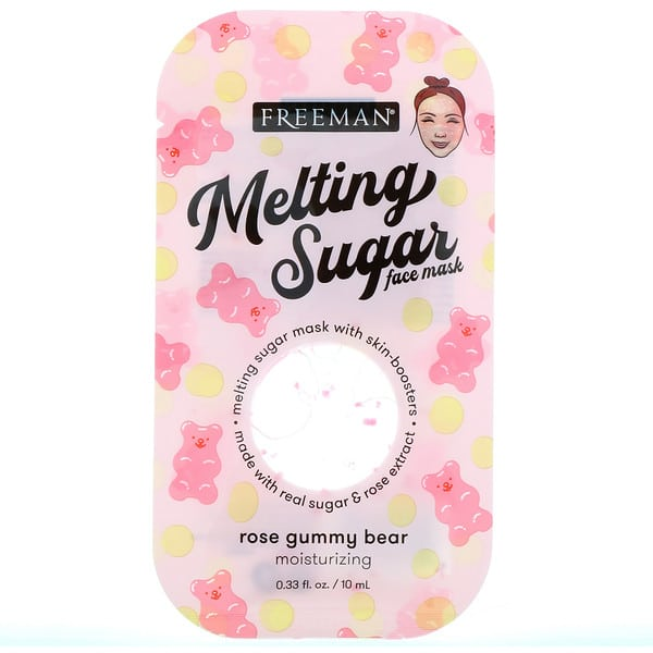 Freeman Beauty, Melting Sugar Face Mask, Moisturizing, Rose Gummy Bear, 0.33 fl oz (10 ml)