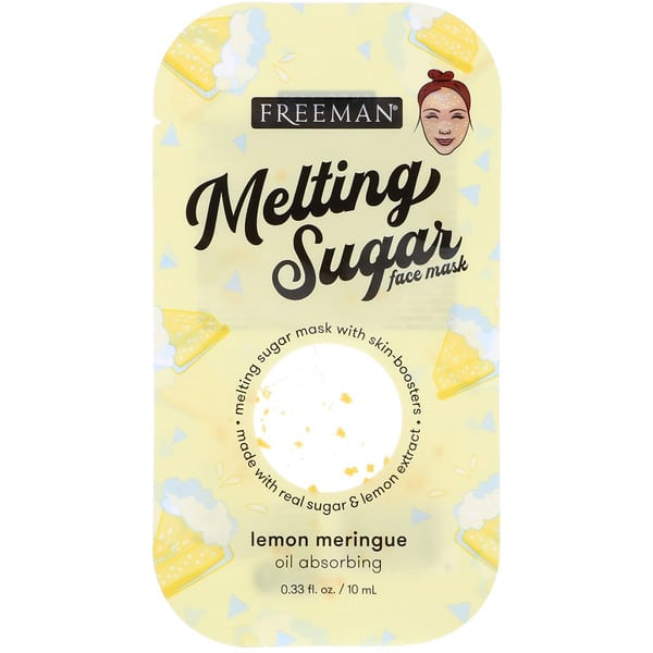 Freeman Beauty, Melting Sugar Face Mask, Oil Absorbing, Lemon Meringue, 0.33 fl oz (10 ml)