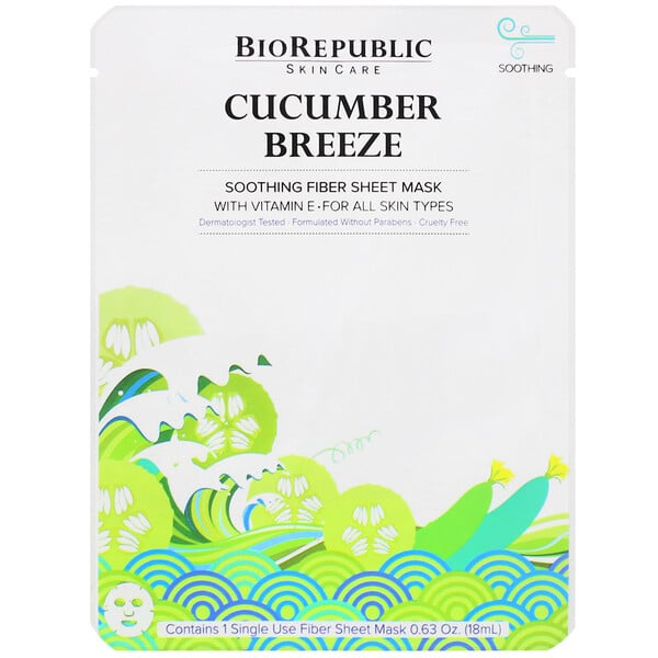 BioRepublic Skincare, Cucumber Breeze, Soothing Fiber Sheet Mask, 1 Sheet, 0.63 oz (18 ml)