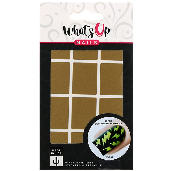 Whats Up Nails, Lightning Bolts Stencils, 12 Pieces