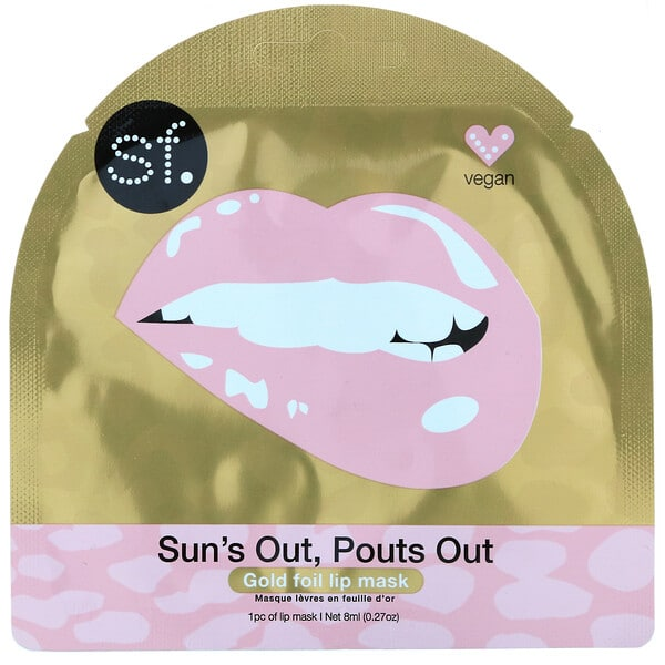 SFGlow, Sun's Out, Pouts Out, Gold Foil Lip Mask, 1 Sheet, 0.27 oz (8 ml)