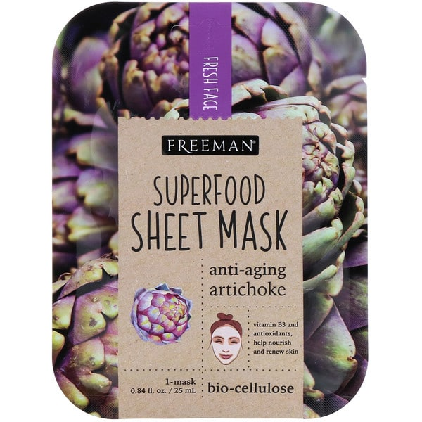 Freeman Beauty, Superfood Sheet Mask, Anti-Aging Artichoke, 1 Mask, 0.84 fl oz (25 ml)