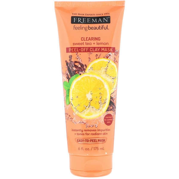 Freeman Beauty, Feeling Beautiful, Clearing Peel-Off Clay Mask, Sweet Tea + Lemon, 6 fl oz (175 ml)
