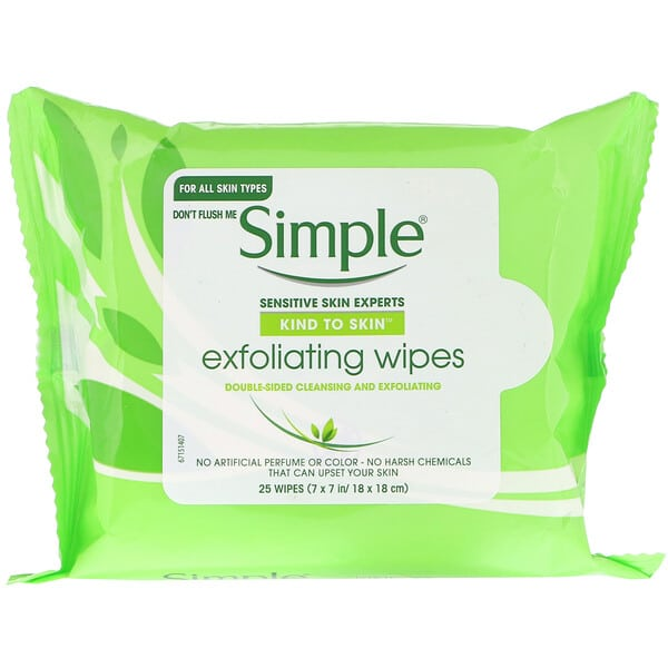 Simple Skincare, Exfoliating Wipes, 25 Wipes