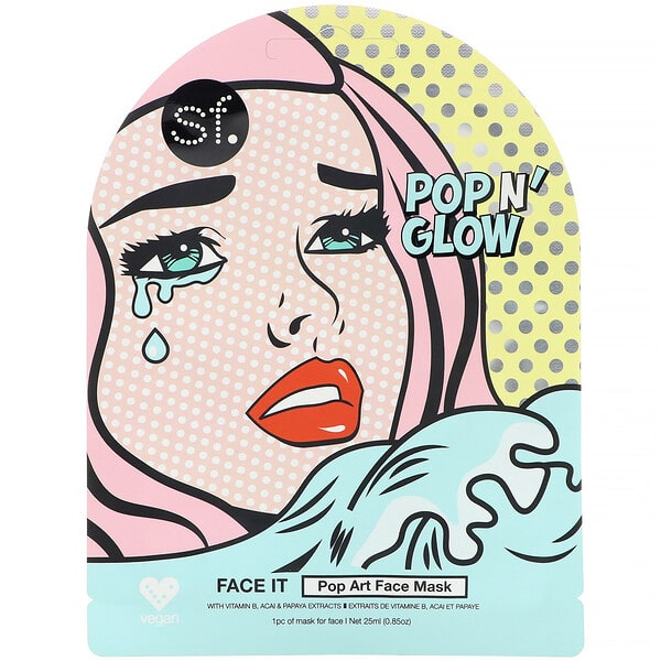 SFGlow, POP n' Glow, Face It, Pop Art Face Mask, 1 Sheet, 0.85 oz (25 ml)