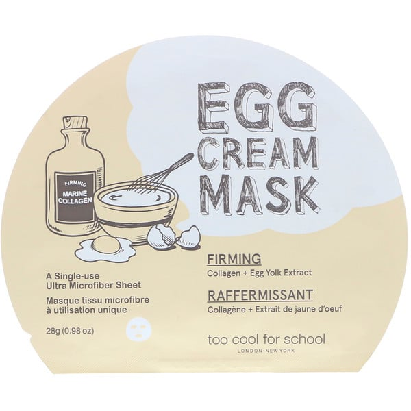 Too Cool for School, Egg Cream Mask, Firming, 1 Sheet, 0.98 oz (28 g)