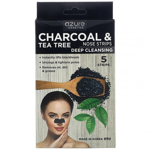 Azure Kosmetics, Charcoal & Tea Tree, Nose Strips, Deep Cleansing, 5 Strips