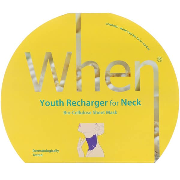 When Beauty, Youth Recharger for Neck, Bio-Cellulose Sheet Mask, 1 Sheet, 0.6 fl oz (18 ml)
