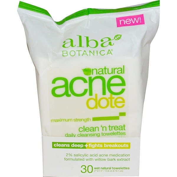 Alba Botanica, Acne Dote, Daily Cleansing Towelettes, Oil Free, 30 Wet Towelettes