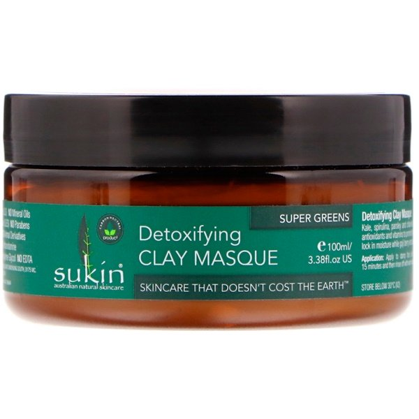 Sukin, Super Greens, Detoxifying Clay Masque, 3.38 fl oz (100 ml)