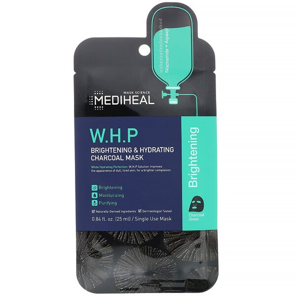 Mediheal, W.H.P, Brightening & Hydrating Charcoal Mask, 5 Sheets, 0.84 fl oz (25 ml) Each