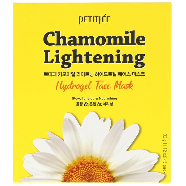 Petitfee, Chamomile Lightening, Hydrogel Face Mask, 5 Sheets, 1.12 oz (32 g) Each