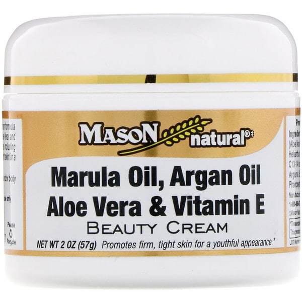 Mason Natural, Marula Oil, Argan Oil Aloe Vera & Vitamin E Beauty Cream, 2 oz (57 g)