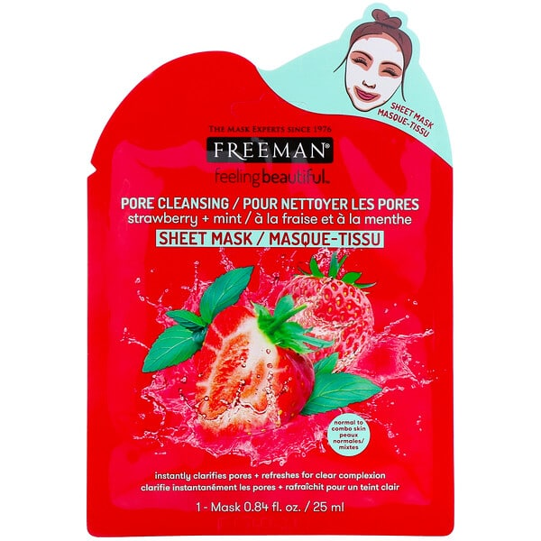 Freeman Beauty, Feeling Beautiful, Pore Cleansing Sheet Mask, Strawberry + Mint, 1 Mask