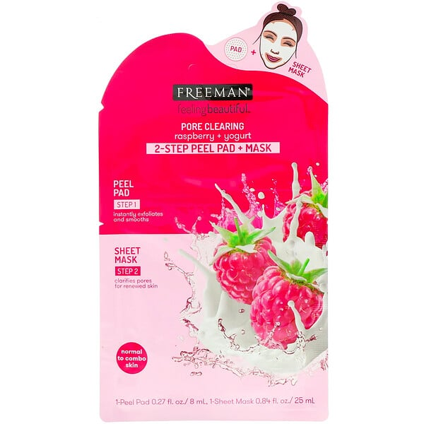 Freeman Beauty, Feeling Beautiful, 2-Step Peel Pad + Mask, Pore Clearing, Raspberry + Yogurt, 1-Peel Pad & 1-Sheet Mask