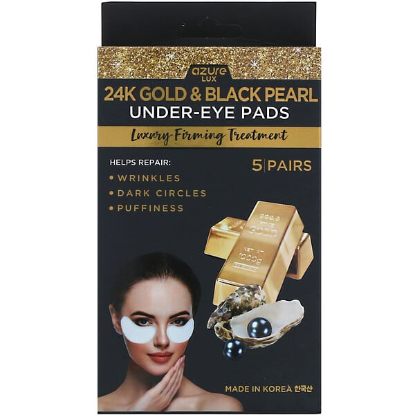 Azure Kosmetics, 24K Gold & Black Pearl, Under-Eye Pads, Luxury Firming Treatment, 5 Pairs