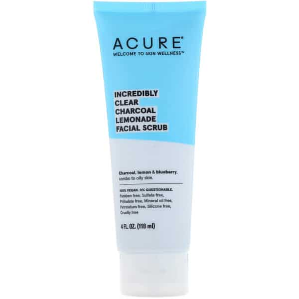 Acure, Incredibly Clear Charcoal Lemonade Facial Scrub, 4 fl oz (118 ml)