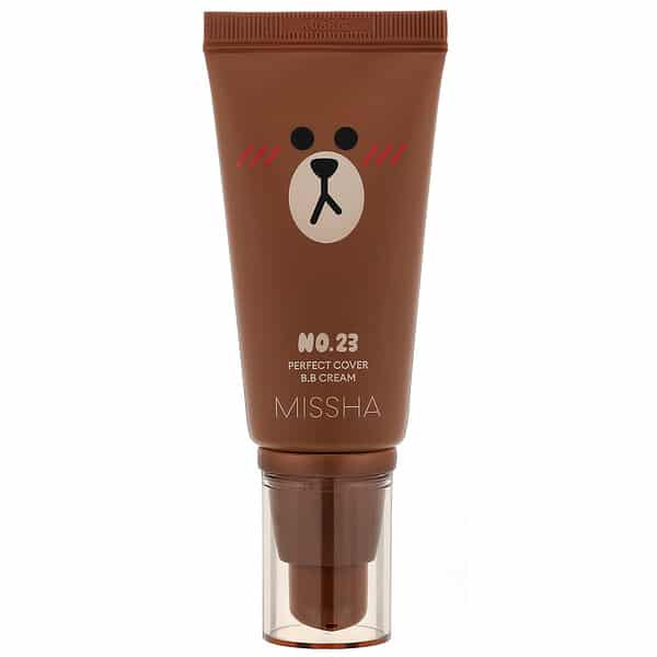 Missha, Line Friends Edition, M Perfect Cover B.B Cream, SPF 42 PA+++, No. 23 Natural Beige, 1.7 oz (50 ml)