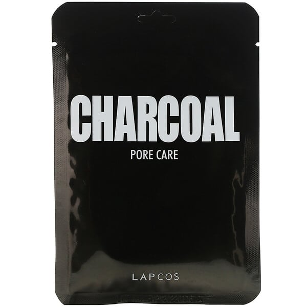 Lapcos, Daily Skin Mask Charcoal, Pore Care, 5 Sheets, 0.84 fl oz (25 ml) Each
