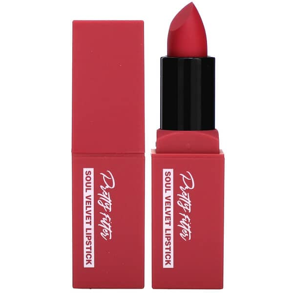 Touch in Sol, Pretty Filter, Soul Velvet Lipstick, Seoul Rose, 0.12 oz (3.5 g)