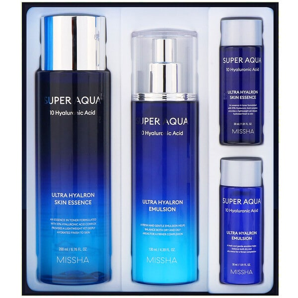 Missha, Super Aqua, Ultra Hyalron Set, 4 Pieces