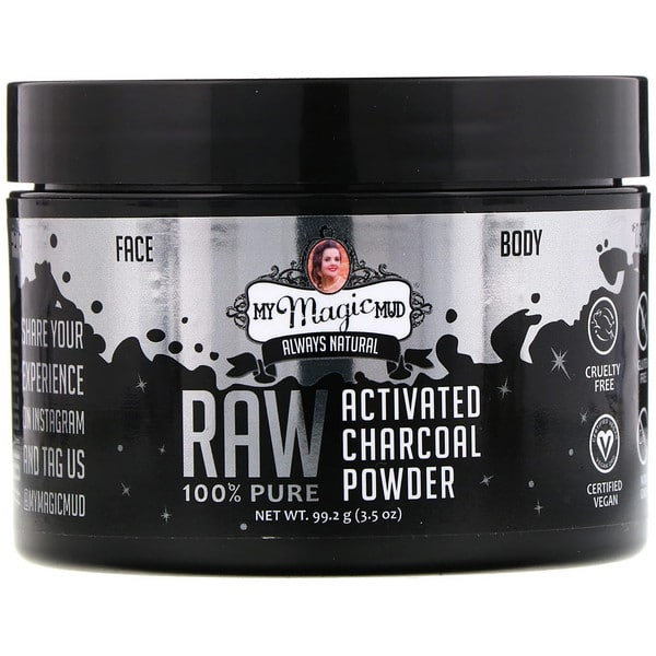 My Magic Mud, Raw 100% Pure, Activated Charcoal Powder, 3.5 oz (99.2 g)