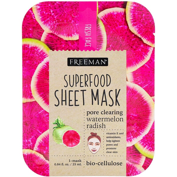 Freeman Beauty, Superfood Sheet Mask, Pore Clearing Watermelon Radish, 1 Mask