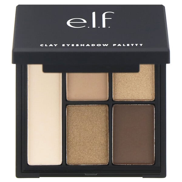 E.L.F., Clay Eyeshadow Palette, Necessary Nudes, 0.26 oz (7.5 g)