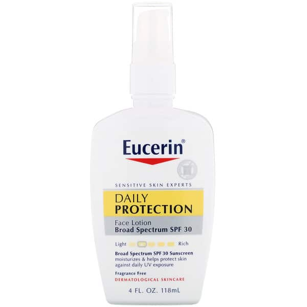 Eucerin, Daily Protection Moisturizing Face Lotion, Sunscreen SPF 30, Fragrance Free, 4 fl oz (118 ml)