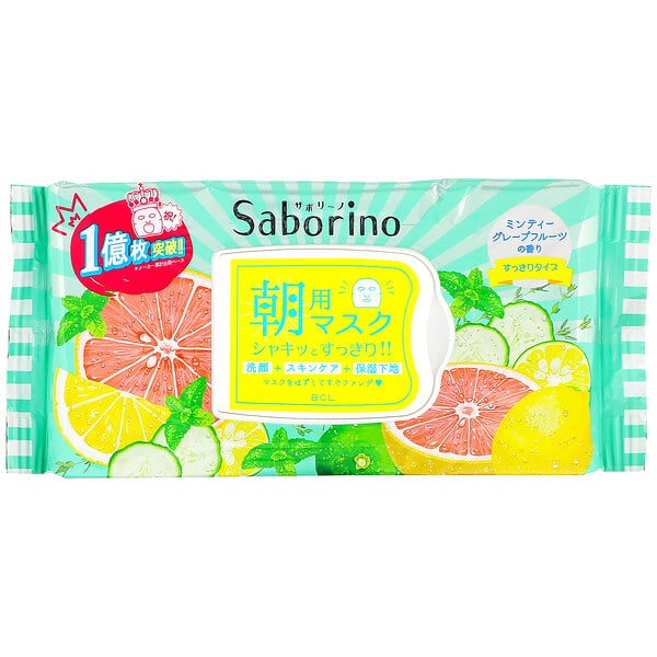 Saborino, Morning Face Mask Fresh, 32 Sheets, 306 ml