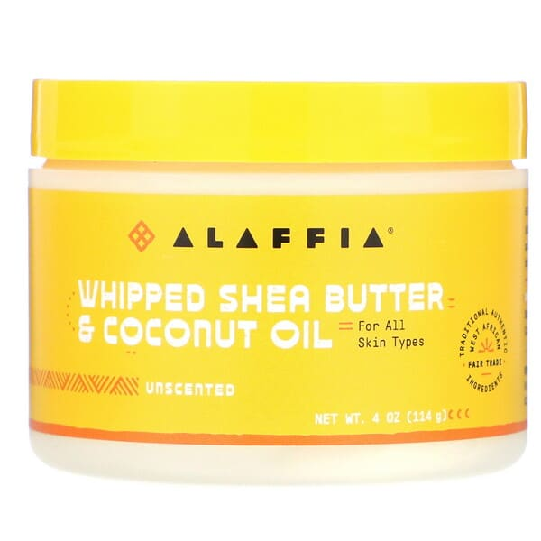 Alaffia, Whipped Shea Butter & Coconut Oil, Unscented, 4 oz (114 g)